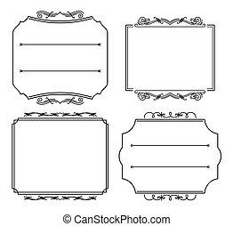 mal, plek, trouwfeest, frame., ouderwetse , uitnodigingen, frame, bloeien, collection., vector, card., tekst, schets