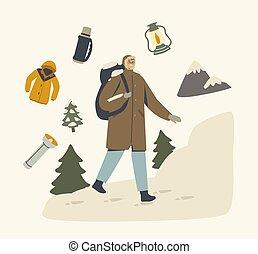 man, het genieten van, winter, aanzicht, backpacker, reiziger, wandelende, hobby, vakantie, mannelijke , karakter, warme, natuur, kleren, avontuur