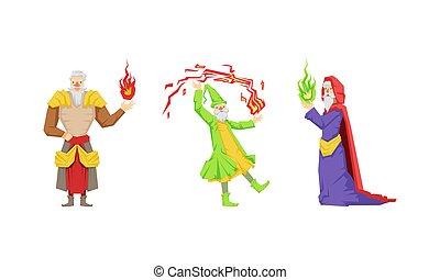 man, hoedje, wijs, tovenaar, spits, tovenaar, oud, baard, witte , vector, of, set, magisch, gedresseerd