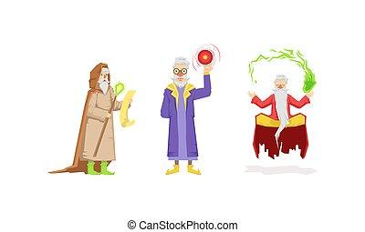man, wijs, tovenaar, tovenaar, oud, baard, witte , vector, of, set, magisch, gedresseerd