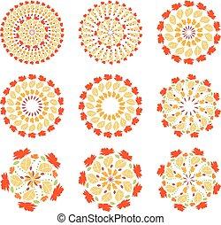 mandalas., illustratie, set, vector, herfst