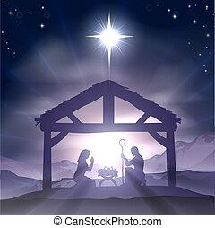 manger, geboorte, de scène van kerstmis