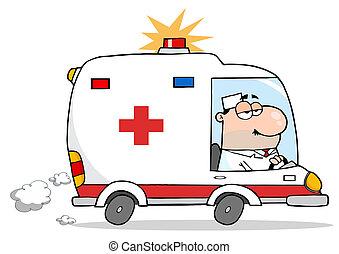 mannelijke , ambulance, arts, geleider