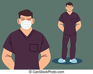 mannelijke , gebruik, verpleegkundige, confronteren vermomming