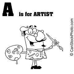 mannelijke , kunstenaar, geschetste