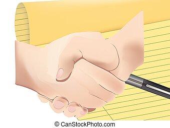 mannelijke , mensen, twee, tussen, handdruk
