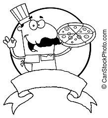 mannelijke , pizzeria, kok, geschetste