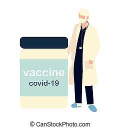 mannelijke , vaccin, vial, 19, covid, arts, senior