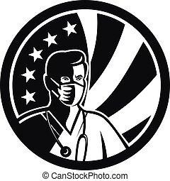 mannelijke , witte , mascotte, black , vlag, chirurgisch, usa, vervelend, verpleegkundige, masker