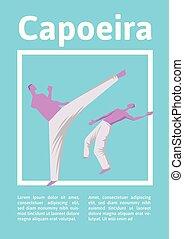 mannen, poster., illutration, capoeira, twee, traditionele , krijgshaftig, vector, fighting., mal, braziliaans, sportende, art.
