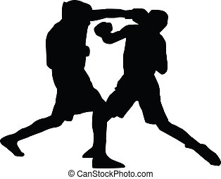 mannen, silhouette, boxing