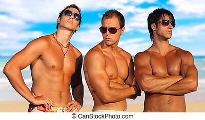 mannen, strand, relaxen