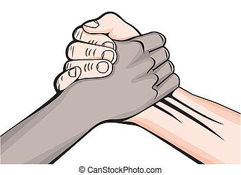 mannetje hands, twee, handdruk