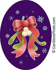 maretak, kerstmis, illustratie