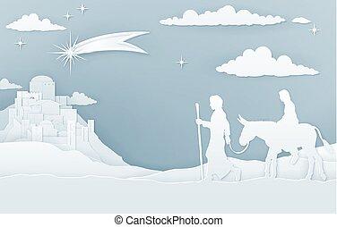 maria, joseph, bethlehem, kerstmis geboorte