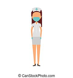 masker, karakter, verpleegkundige, jonge, vervelend, vrouwlijk, medisch