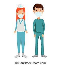 masker, mannelijke , gezicht, gebruik, paramedic, verpleegkundige