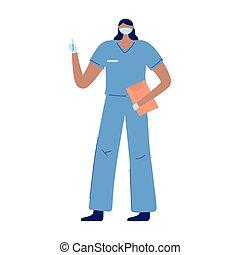 masker, verpleegkundige, rapport, vrouwlijk, handschoenen, medisch