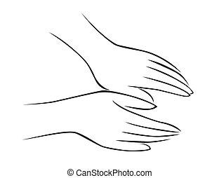 masseren, hand