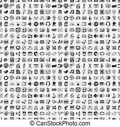 media, doodle, set, iconen