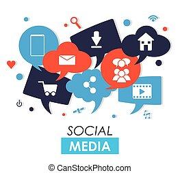 media, ontwerp, sociaal