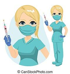 medisch, masker, groen uniform, verpleegkundige