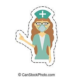 medisch, masker, vrouwlijk, verpleegkundige, spotprent, bril