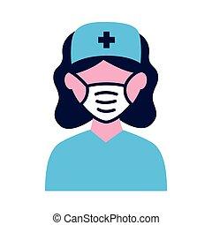 medisch, plat, vervelend, stijl, verpleegkundige, masker, vrouwlijk, pictogram