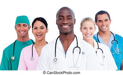 medisch, positief, vorm een team portret