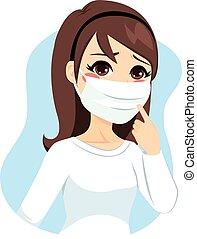 medisch, vrouw, masker
