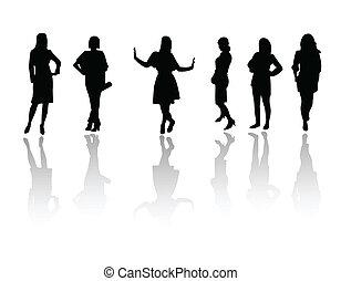 meiden, mode, silhouette
