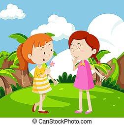meiden, spelend, tuin
