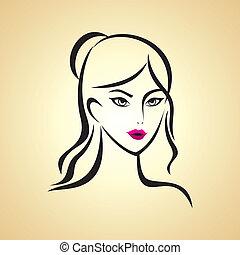meisje, beauty, gezicht