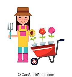 meisje, bloemen, tuinman, kruiwagen