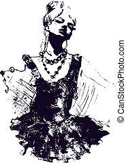 meisje danser, illustratie