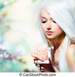 meisje, flower., fantasie, lente, roos, mooi