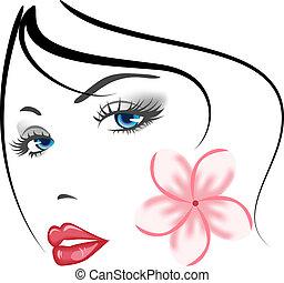 meisje, gezicht, beauty