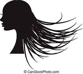 meisje, hair., silhouette, lang, vloeiend