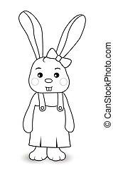 meisje, konijn, overalls
