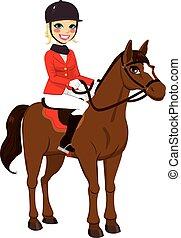 meisje, paarde, ruiter