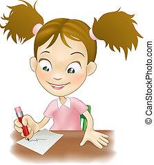 meisje, schrijvende , jonge, bureau, haar