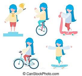 meisje, sporten