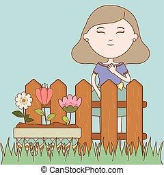 meisje, spotprent, floral, pot, tuin, bloemen, omheining