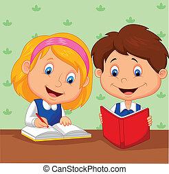 meisje, spotprent, jongen, samen, studeren