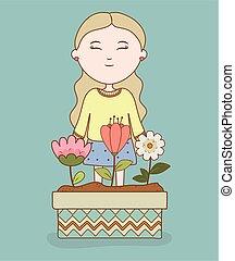 meisje, spotprent, pot, het glimlachen, tuin, bloemen
