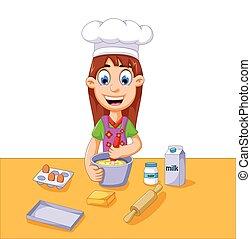 meisje, taart, spotprent, vervaardiging, gekke
