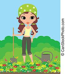 meisje, tuinman