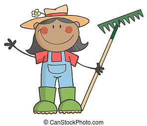 meisje, vasthouden, black , farmer, hark