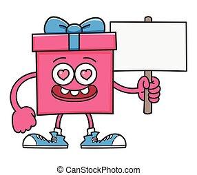 meldingsbord, vasthouden, cadeau, valentijn, doosje, spotprent, post