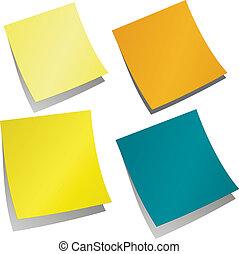 memorandum, stickers, herinnering, gekleurde